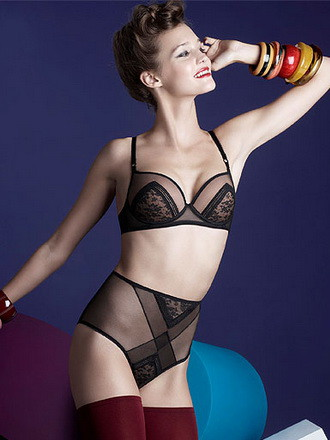 """Rumeur"" bra and high-waist brief by Huit.  Brief $69, available in sizes XS-XL, Bra 32-36 A-DD, $85-95"