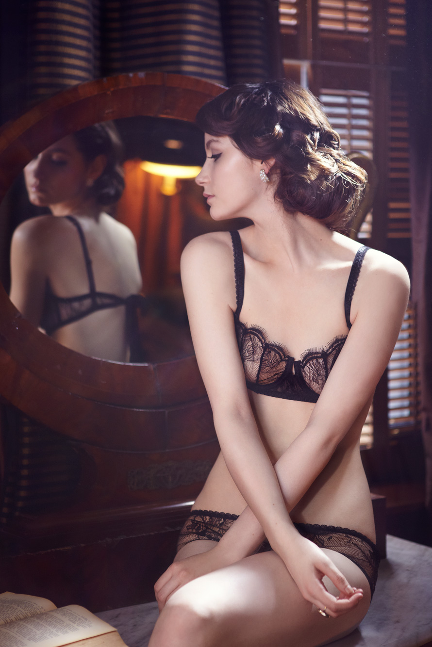 """Bonnie"" by Meg at Midnight.  Available in sizes 30-34 AA-B.  The pattern in the French Leavers Lace reminds me of the silhouette of dark winter trees against snow.  Bra £95.00, Knicker £65.00"