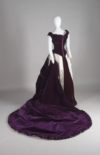 Worth purple silk velvet gown
