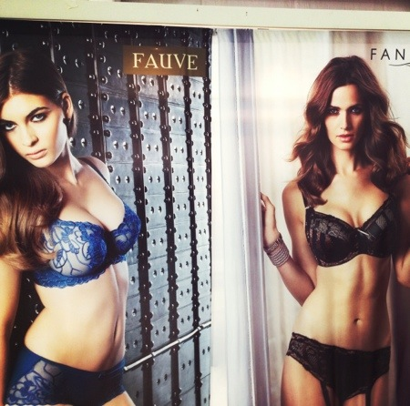 """Eveden booth at curve, showing new Fauve style """"Chloe"""" half cup bra and new Fantasie style """"Martina"""" bra with side support."""
