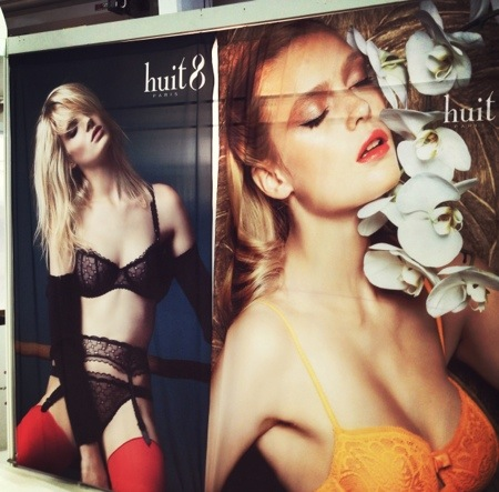 """Another shot of the Eveden booth, this time showing Huit styles """"Backstage"""" and current season's """"Arpege"""" in Sunflower."""