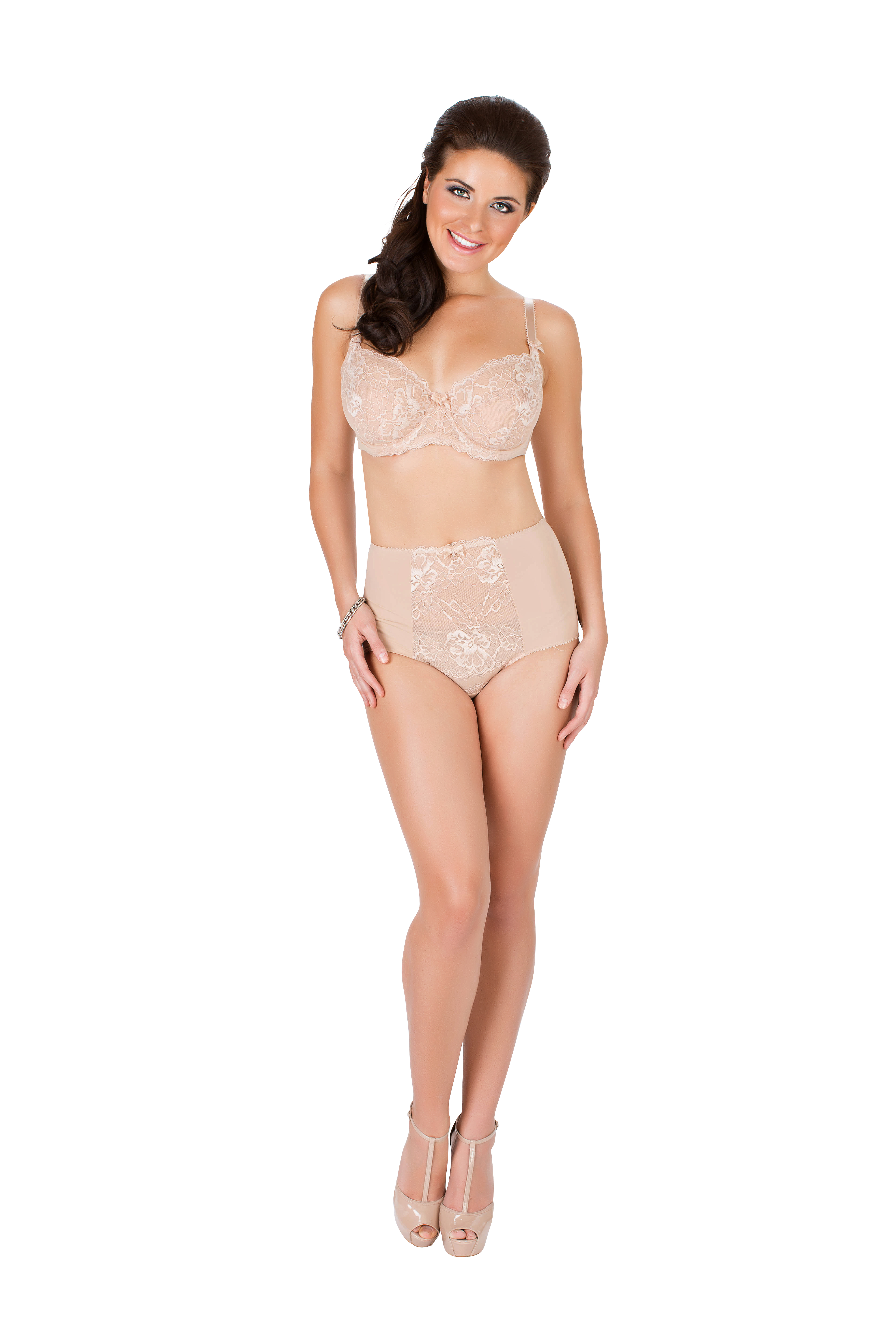 """Sophia"" Wire Bra and High-Waist Brief by Parfait.  Available in sizes 30-40 D-K (UK), in Beige and Pearl White."