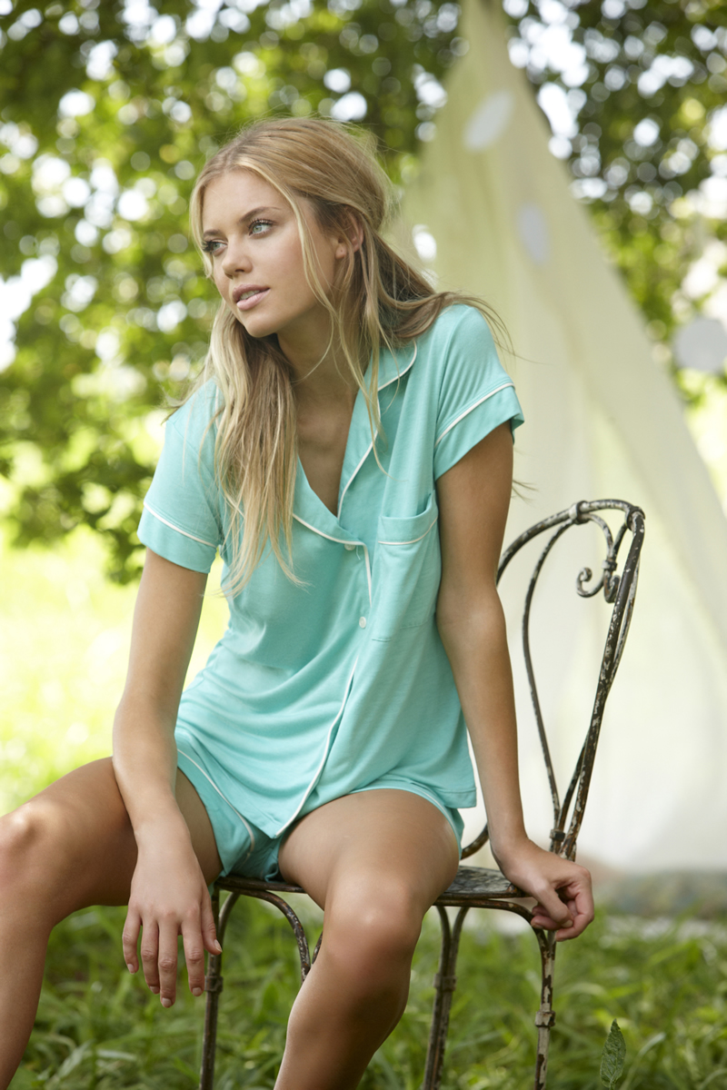 Gisele Short PJ Set in Spearmint by Eberjey