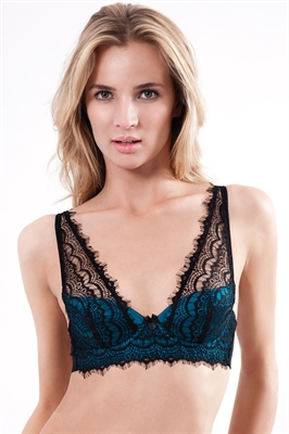 Mimi Holliday Bisou Bisou Azure Silk Satin Shoulder Bra