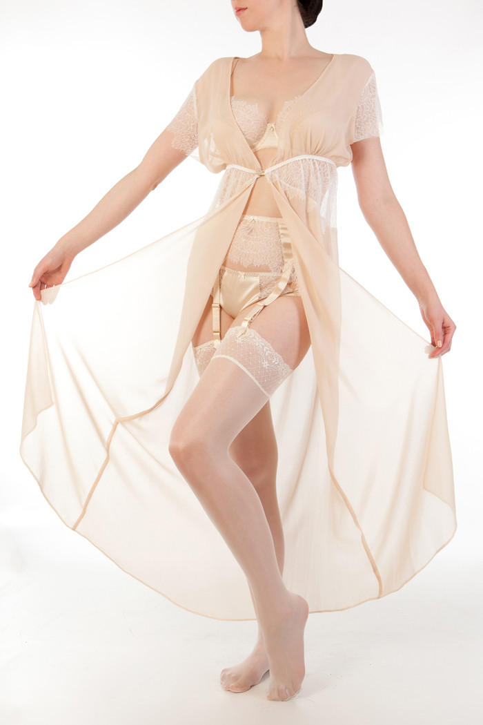 """Eleanor"" Almond Robe, Suspender, Bra, and Classic Brief.  A high-waist French Knicker is also available."