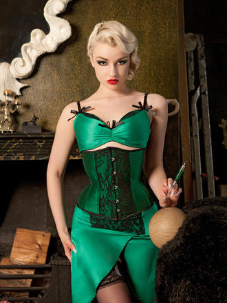 """Emerald DeVille"" by Kiss Me Deadly (£44.00/ £25.00/ £79).  Bra sizes 32-38 B-DD, Brief and Suspender Skirt sizes S-XL."