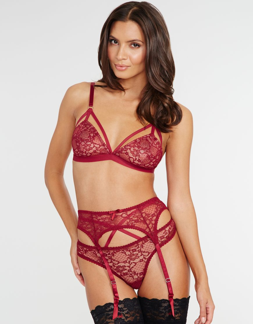 """Entice Alexa"" by Figleaves Boudoir.  Soft Bra ($30), Thong ($25), Brief ($28), Suspender ($28), Body ($47), and Chemise ($59), all available in Black or Red.    Bra, body, and knickers in sizes XS-L, chemise in sizes 8-18 (UK)"