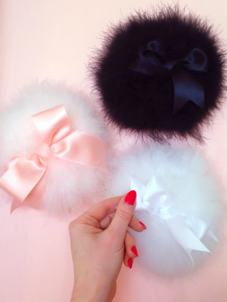 Faire Frou Frou Marabou Powder Puff ($60).  Available in White, Pink, or Black.