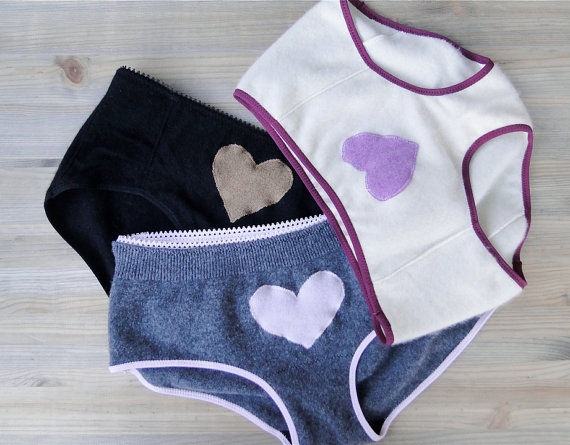 Cashmere panties by Econica ($38.00 each) available in sizes XS-XL in assorted colors.
