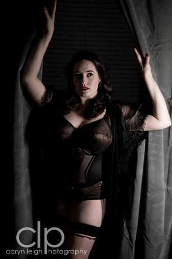 Model: Sweets, Sweet Nothings. Photographer: Caryn Leigh Photography. Lingerie: Elomi (c/o). Peignoir: Dottie's Delights. Hold-Ups: Gaetano Cazzola.
