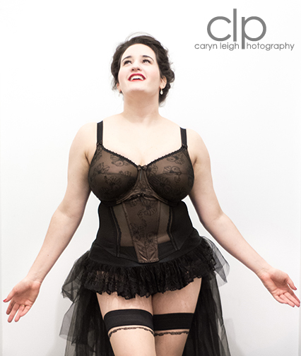 Model: Sweets, Sweet Nothings. Photographer: Caryn Leigh Photography. Lingerie: Elomi (c/o). Hold-Ups: Gaetano Cazzola. Skirt: Leg Avenue.