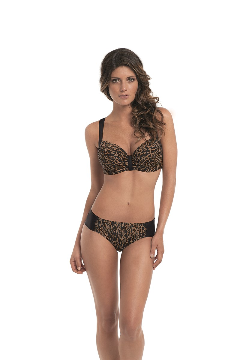 """Savannah"" by Panache molded bikini in  animal print, sizes 30-38 D-G (UK)."