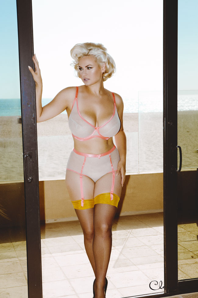 """Fishnet"" by Claudette in Blondie/Hot Coral. Sizes 30-38 D-G (UK). Matching suspender brief sizes XS-XL."
