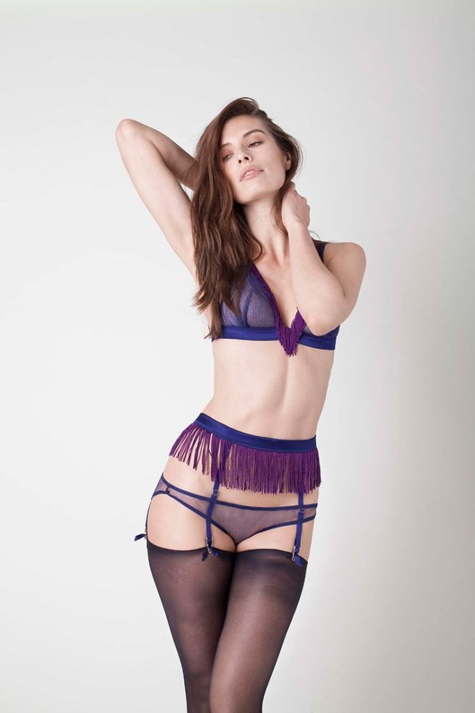 v=Cougar Silk Tulle Triangle Bra (£94) (S, M, L), Silk Tulle Tassel Corset Back Knicker (£94) (XS-XL), and Tassel Suspenders (£89) (S, M, L) by Damaris