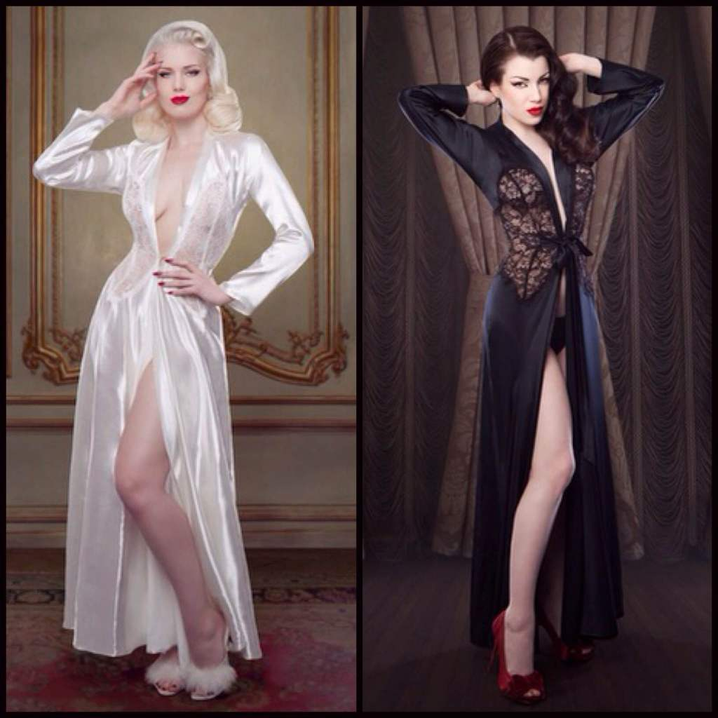 Nell Robe in Ivory (£375.00, about $589.00) and Black (£250.00, about $392.00), both in sizes XS-XL by Betty Blue's Loungerie
