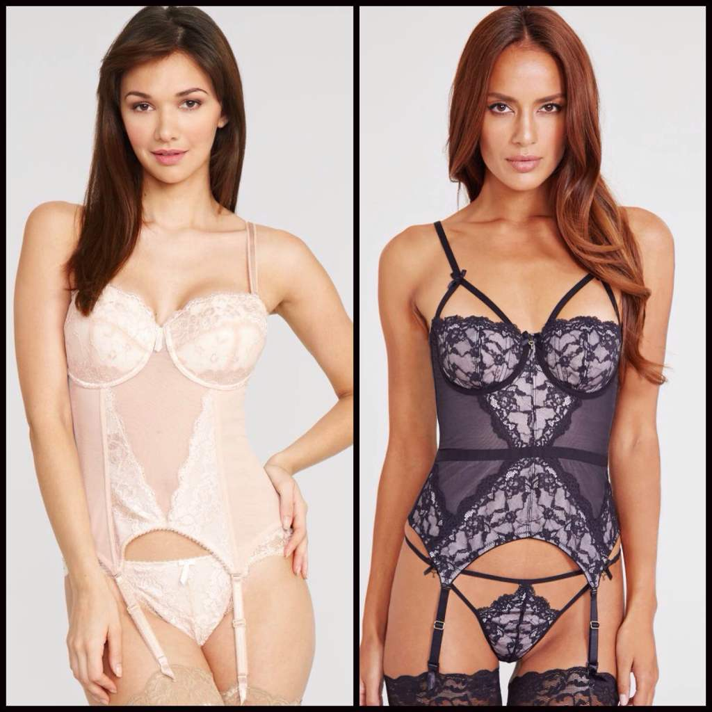 Amour Basque in Almond ($58) and Forbidden Basque in Black/Pink ($91) by Pour Moi? via Figleaves