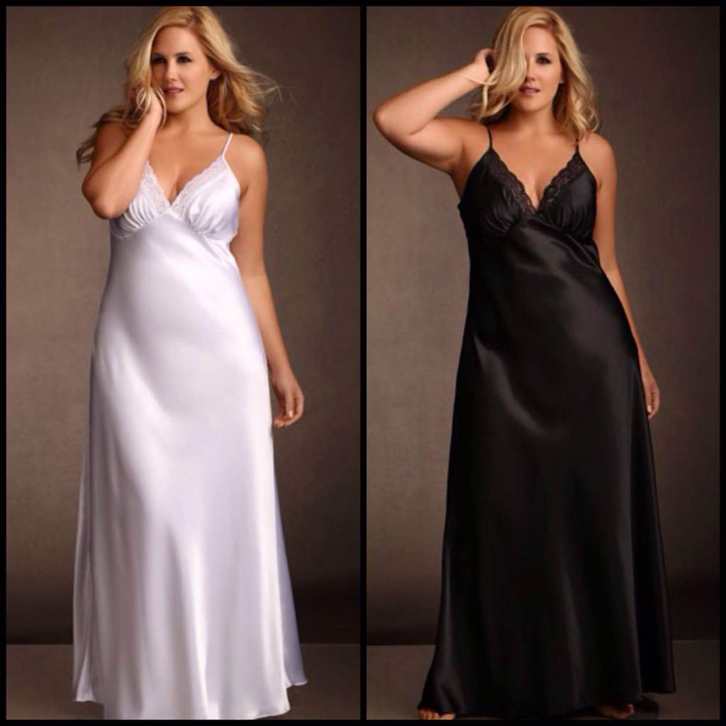 Lace Trim Long Satin Gown (1X-3X) ($42.95) by Hips and Curves