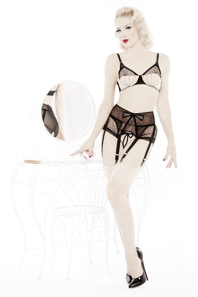 Show Off Bra ($160) (32-34 A-F, 36 A-DD, 38 B-D), Garter Belt ($125) (XS-2XL) and Low-Rise Panty ($83) (XS-2XL) by Dottie's Delights