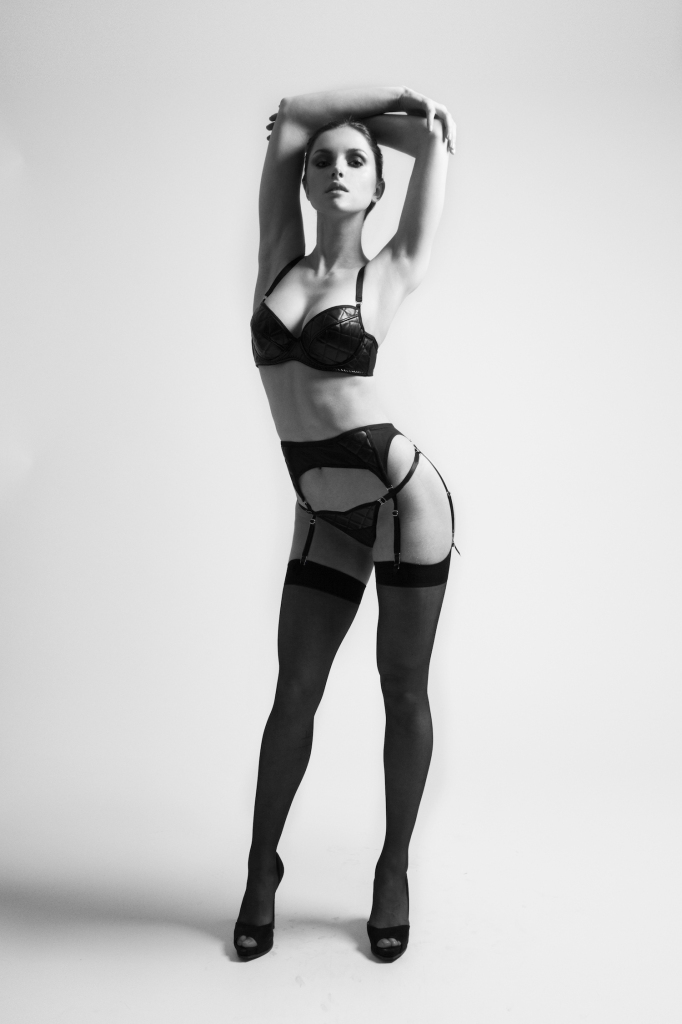 Dynasty bra (£75), thong (£35), and suspender (£55) by Blue Reign, sizes 28-34 B-HH