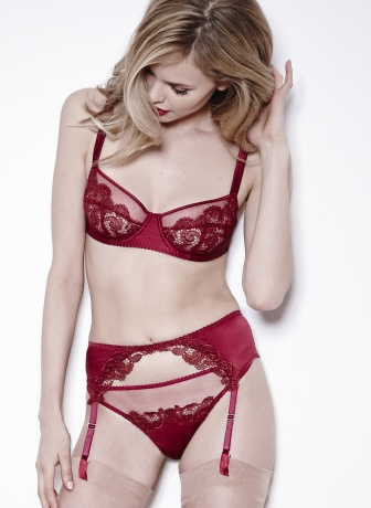 """Scarlet"" Guipure Balcony Bra, Suspender, and Thong by Fleur of England"