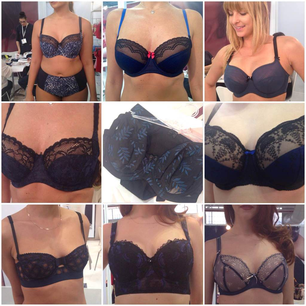 Sweet Nothings CurveNY Trend Report FW2015- Blue/Black: Clockwise from top left: Sculptresse 'Chi Chi', Cleo 'Hettie', Panache Black 'Eclipse', Fantasie 'Elodie', Freya 'Siren', Fantasie 'Francesca', Huit 'Grand Soir', Panache 'Jasmine' and 'Tango'