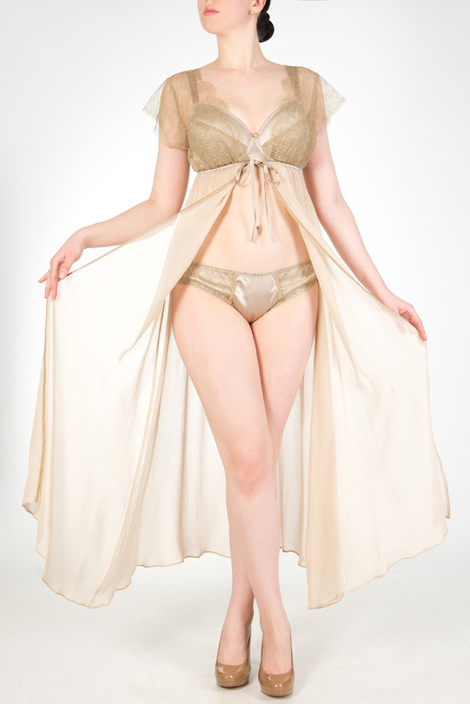 Ophelia robe, S/M, M/L ($650), bra, 30-38 DD-G ($286), and brief, XS-XL ($167) by Harlow & Fox