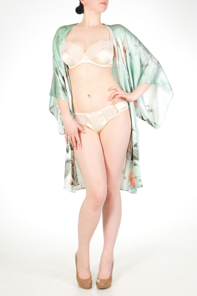 Anastasia silk print kimono, S, M, L ($531), Eleanor silk bra, 30-38 DD-G ($257) and brief, XS-XL ($144) by Harlow & Fox