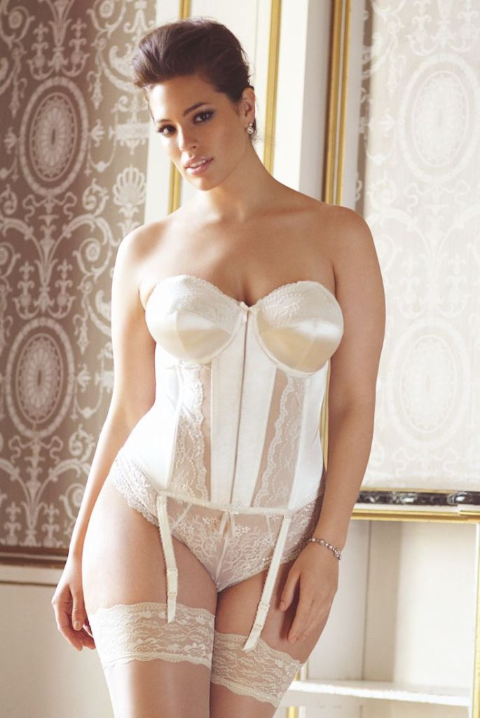 Maria basque and thong by Elomi. 32 DD-HH, 34-40 D-HH, 42 D-H, 44 D-G, 46 D-F, 46 D-E. $118. Knickers in sizes M-4X.