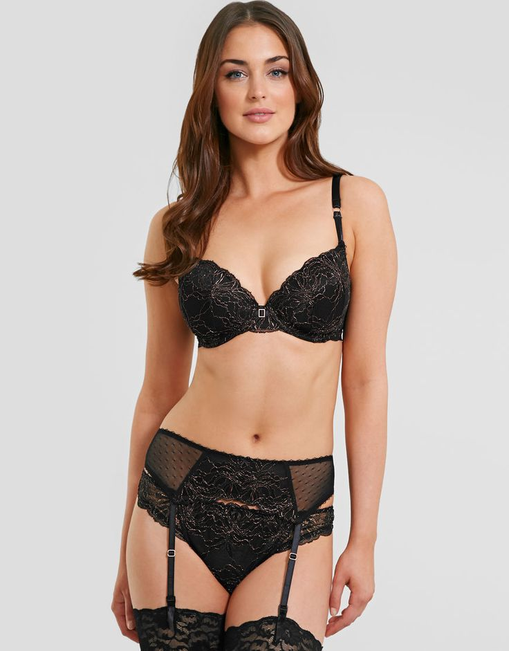 Figleaves Boudoir Electra A-GG Plunge Bra, Thong, and Suspender ($45/$29/$35)