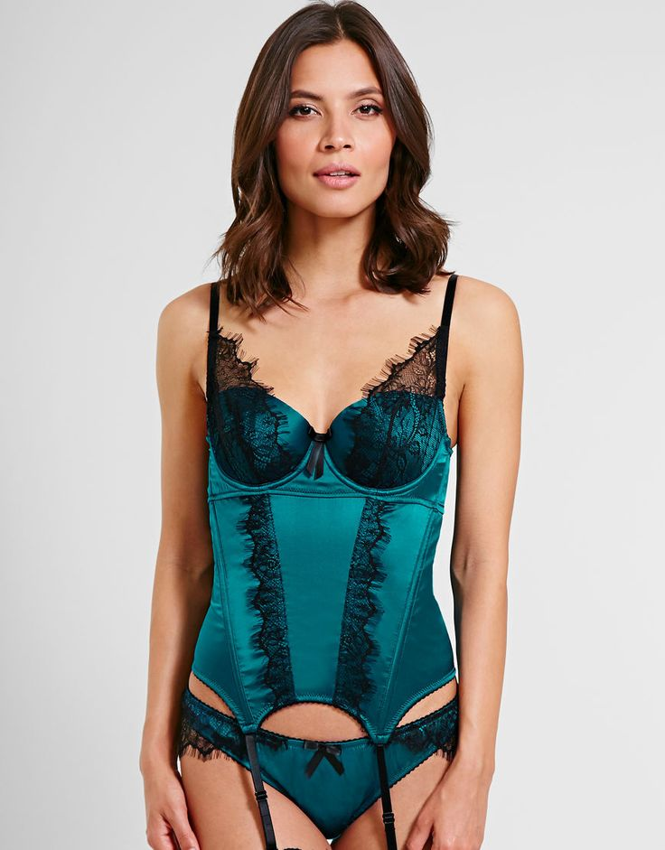 Figleaves Boudoir Tease Silk and Lace Basque and Thong  ($144/$55)