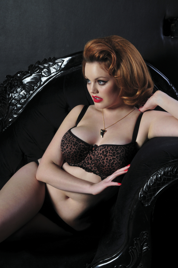 Pounce Balcony Bra and Brief. Collection includes Thong and Suspender Belt. 30-38 DD-HH, S-XL.