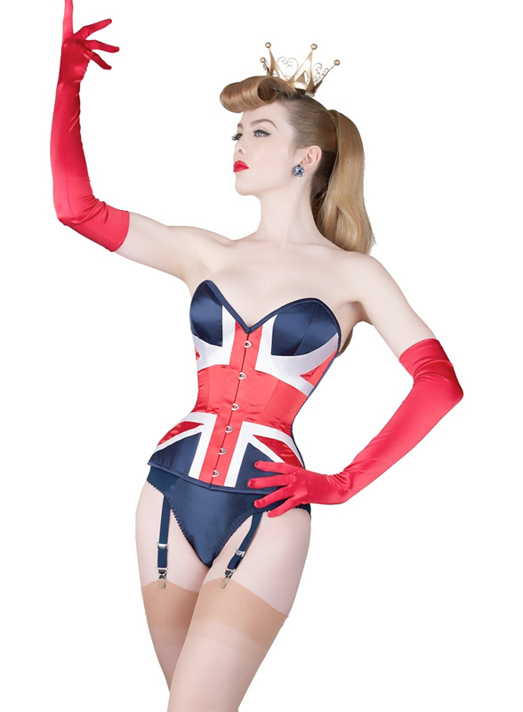 "What Katie Did Union Flag Corset, 18-30"", including full bust option"