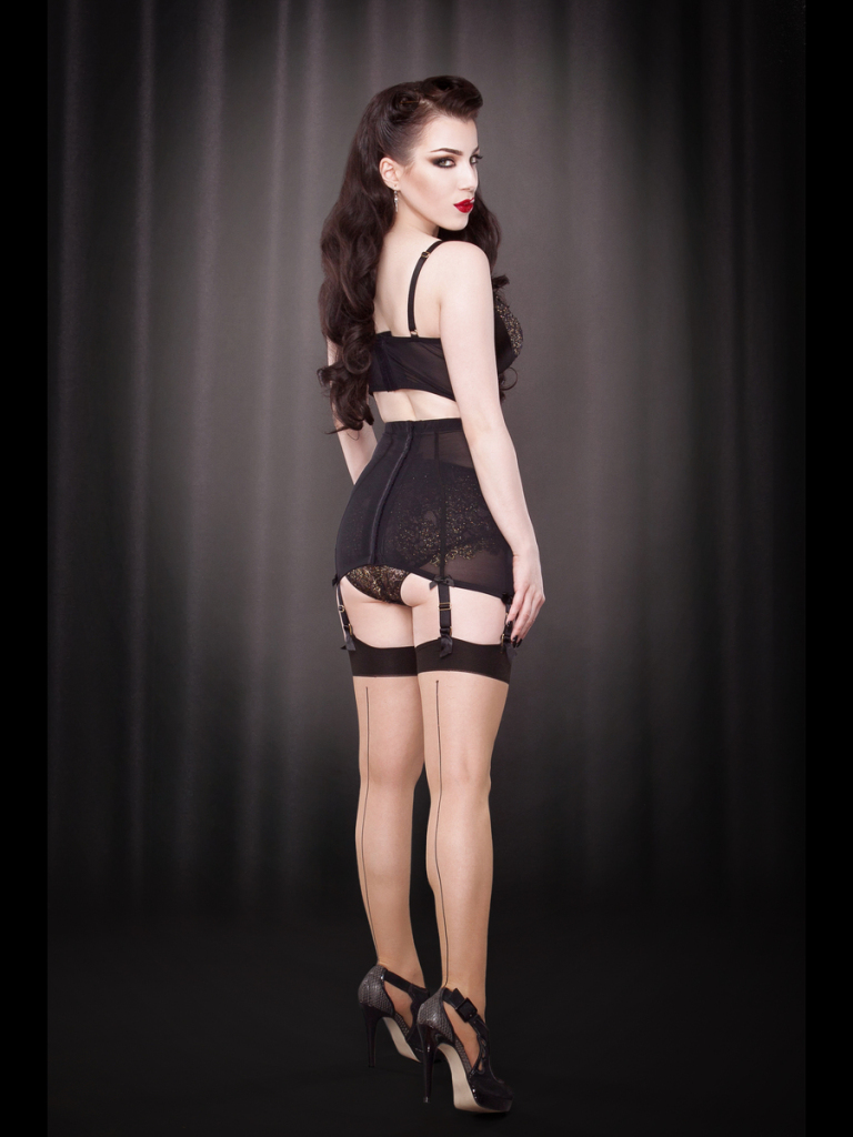 Kiss Me Deadly Sheer Beige Backseam Stockings, S/M-M/L