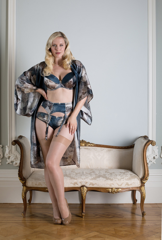 Harlow & Fox Octavia Bra, Brief, Suspender Belt, and Kimono