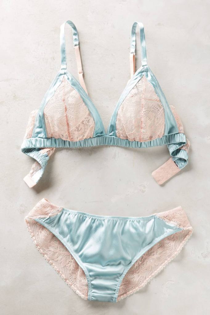 Samantha Chang Silk and Lace Bralette and Briefs, S, M, L