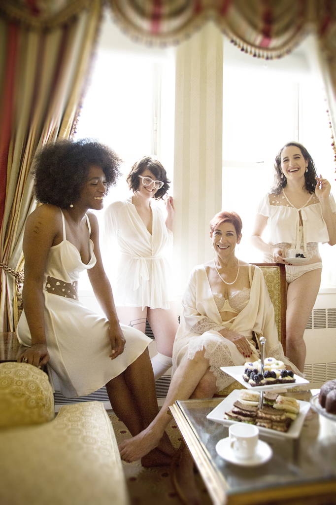 Elisabeth Dale, Cora Harrington, me, and Rose Wednesday, wearing Harlow & Fox, Between the Sheets, and Evgenia Lingerie. Photo (c) Kristen Blush