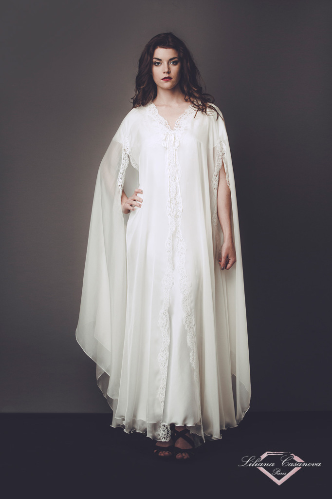 Liliana Casanova Madame de Barry Deshabille Cape Dressing Gown (XS-XXXL or made to measure, available in black, grey, pastel blue/natural, vanilla/salmon, white/natural)