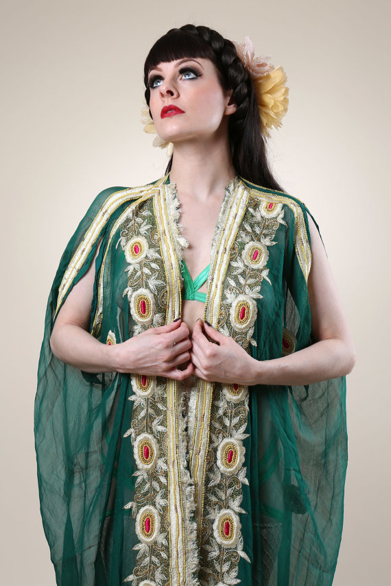 Tallulah Blue Burlesque Embroidered Green Shrug