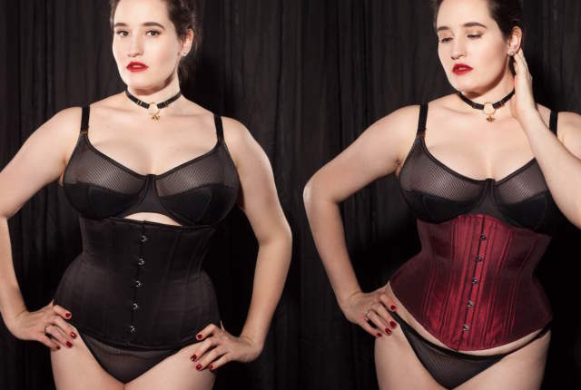 Sweet Nothings reviews Timeless Trends Burgundy Hourglass Corset and What Katie Did Mae Corset. Photo (c) Studio Rezin