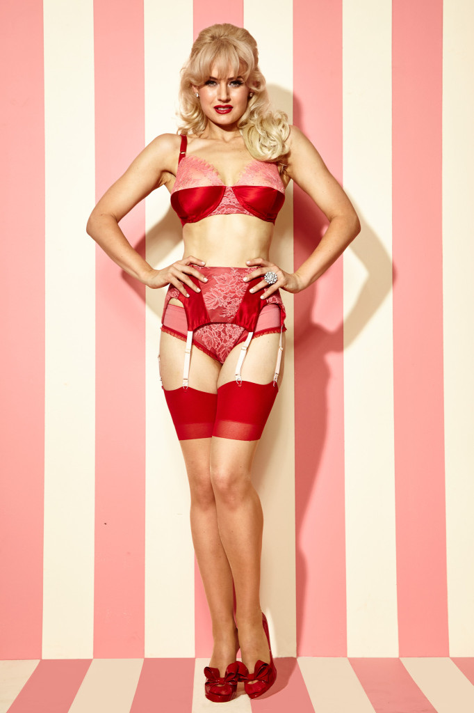 Dottie's Delights Strawberry Cake Bra, Panty, and Garter Belt