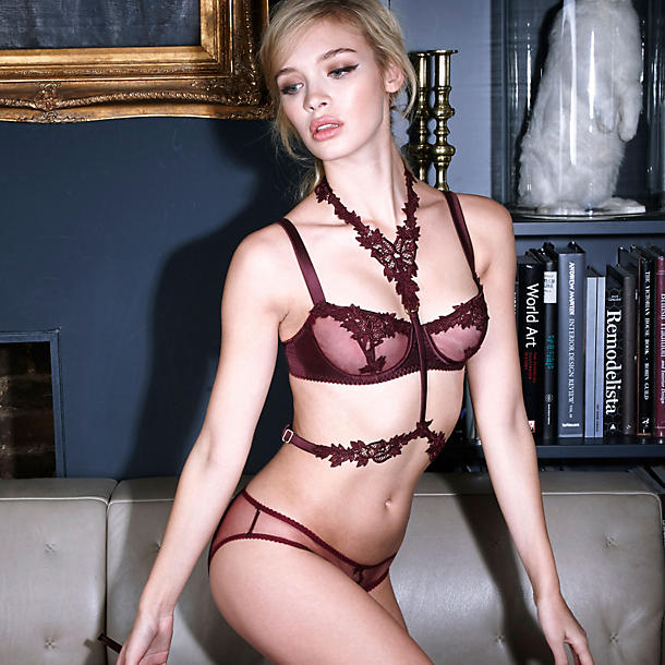 Fleur of England Burgundy balcony bra, harness, and brief