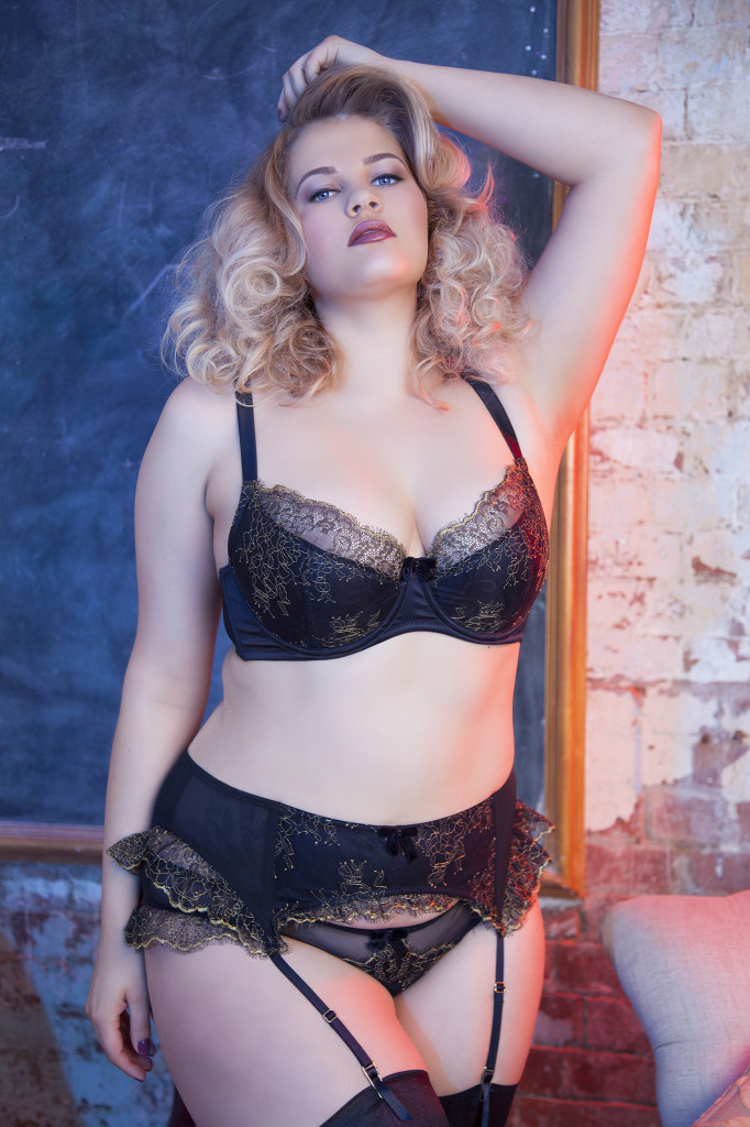 Playful Promises Karine Lace Bra, Brief and Suspender (core, curve, and DD-G sizes)