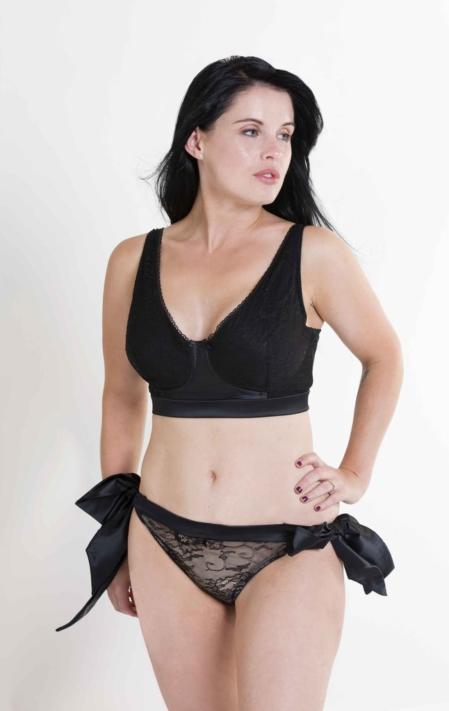 Hummingbird Lingerie Athena Silk Post-Surgical Bra and Side Tie Brief