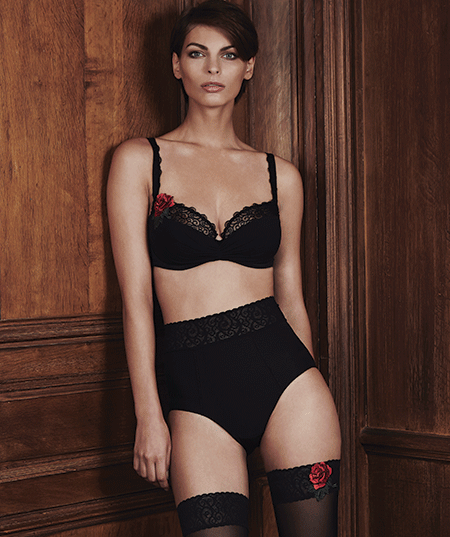 Maison Lejaby Rosae Bra, High-Waist Brief, and Stockings