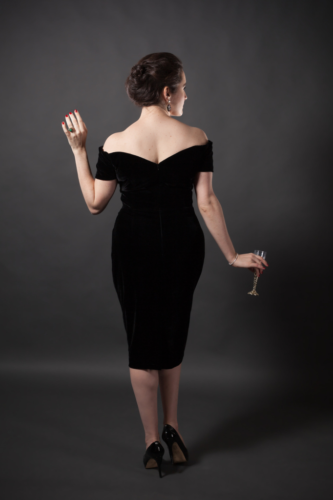 Sweet Nothings reviews The Pretty Dress Company Fatale Black Velvet Pencil Dress. Photo (c) Michi Rezin