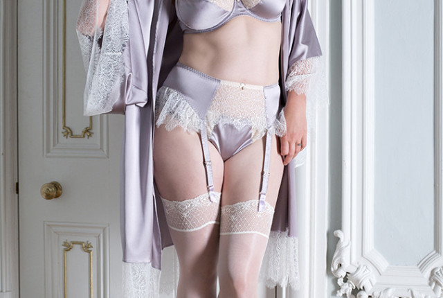 Eleanor Lilac Bra, Suspender, Thong, and Kimono by Harlow & Fox