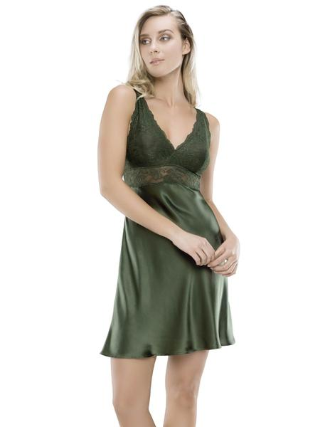 NK iMode Morgan Bust Support Chemise in Ivy (other colors available), Small-Extra Large