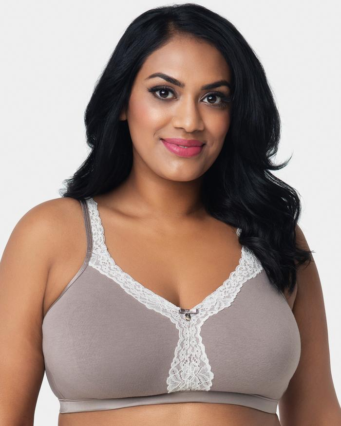 Curvy Couture Cotton Luxe Unlined Wirefree Bra, 34-46 band sizes and B-H cup sizes (US sizes)