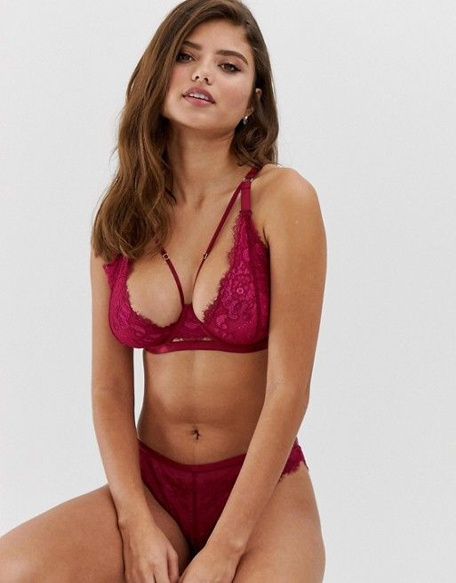Wolf & Whistle Fuller Bust High Apex Lace and Strapping Detail Bra, $42, 32-36 B-G (UK)