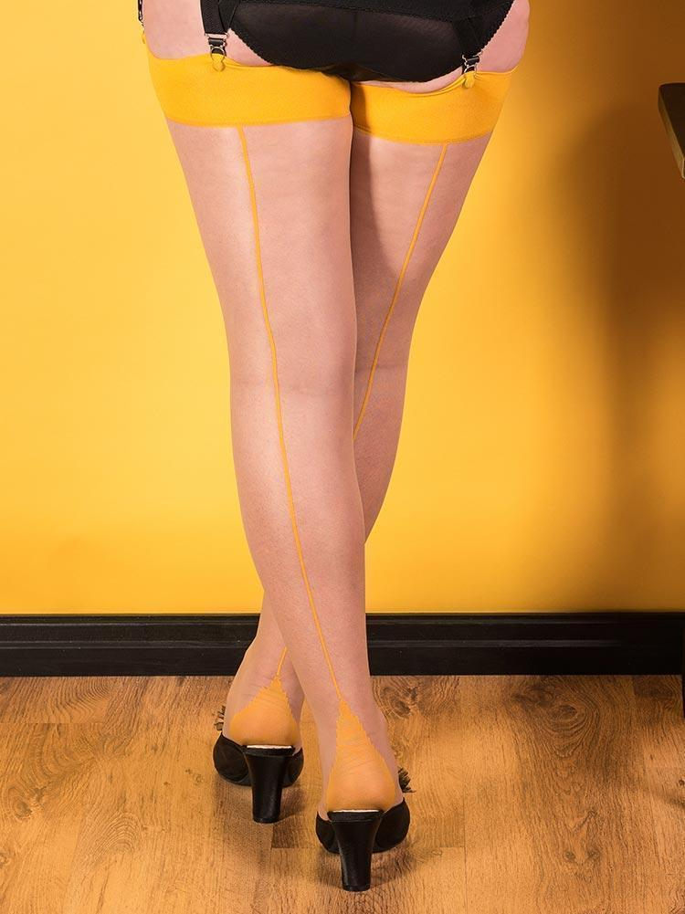 What Katie Did Seamed Stockings in Mustard